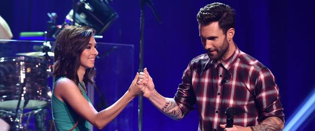 Christina Grimmie And Adam Levine On Stage
